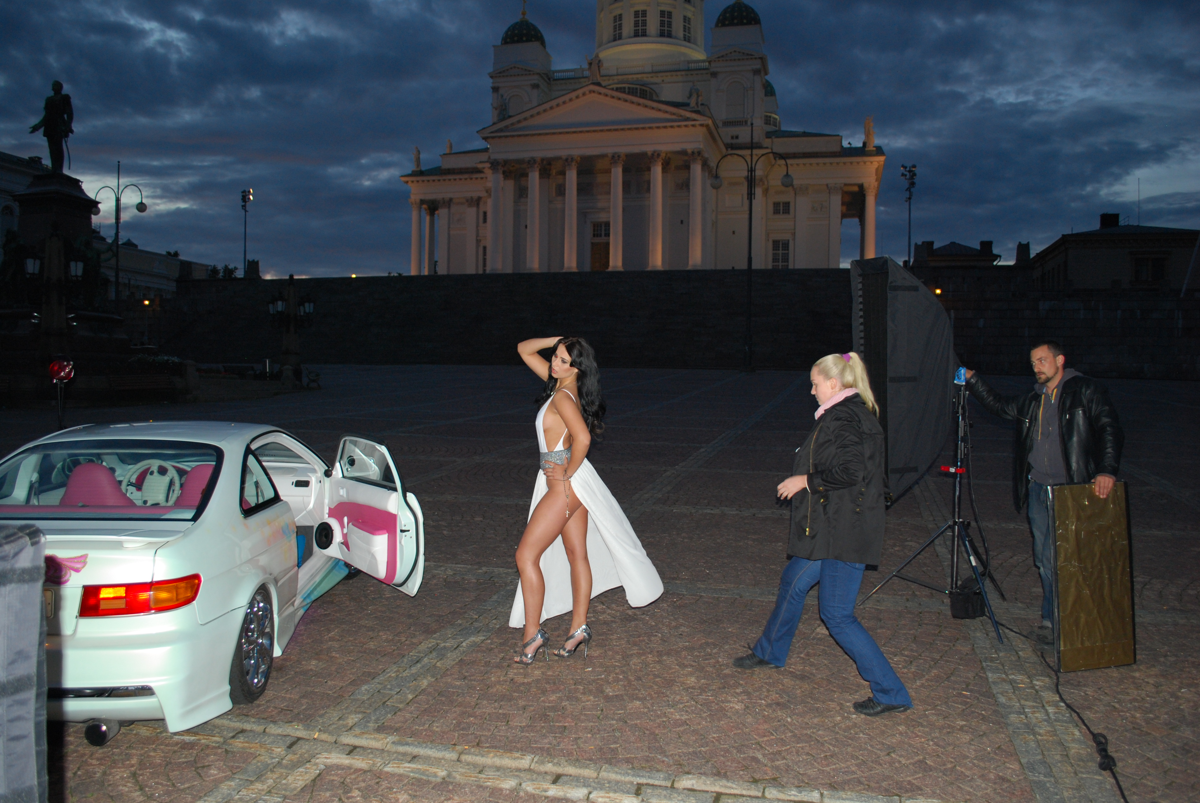 Miss Tuning 2012 Frizzi Arnold shooting the Miss Tuning Calendar in Finland with Tuning cars